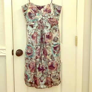 Metallic Nicole Miller Strapless Dress